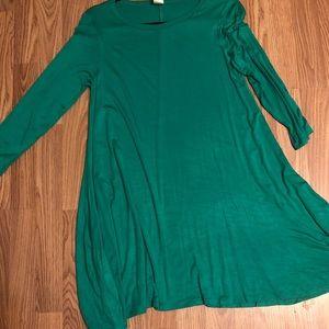 Boutique Tunic Dress Green Pockets Medium